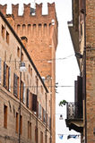 Architectural details near Estense castle, streets of Ferrara, Italy Stock Images
