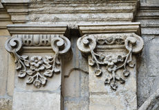 Architectural details of the neglected edifice Stock Image