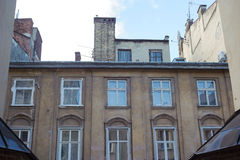Architectural details of old Lviv buildings Royalty Free Stock Photos
