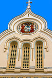 Architectural details at one historic serbian church facade. Tim Stock Photo
