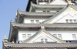 Architectural details of Osaka Castle, Japan most famous historic landmark in Osaka City, Japan.  Royalty Free Stock Photography
