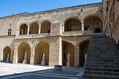 Architectural details of a palace in Old Town of Rhodes Royalty Free Stock Photos
