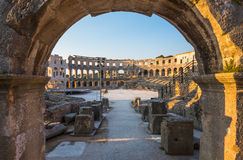 Architectural Details of Pula Coliseum, Croatia Stock Photo