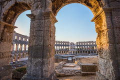 Architectural Details of Pula Coliseum, Croatia Stock Images