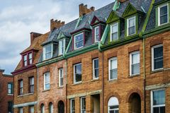 Architectural details of row houses in the Station North Arts and Entertainment District, in Baltimore, Maryland.  royalty free stock photo
