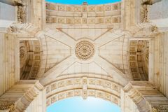 Architectural Details Of Rua Augusta Arch In Lisbon City Of Portugal. Architectural Details Of Rua Augusta Arch Built in 1755 In Lisbon City Of Portugal Royalty Free Stock Photos