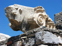 Architectural details of ruined head in Ephesus,Turkey Royalty Free Stock Photo