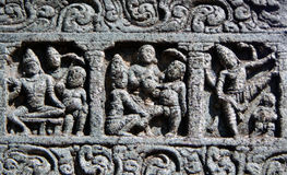 Architectural details of stone carvings in ancient Hindu Temple Stock Photos