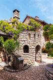 Architectural details of the stone castle in Mediterranean style Stock Photography