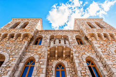 Architectural details of the stone castle in Mediterranean style Stock Image