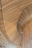 Architectural details of Welsh Assembly building. Wooden planks royalty free stock photo