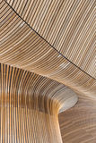 Architectural details of Welsh Assembly building. Wooden planks Stock Photo