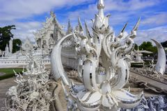 Architectural Details of White Temple. Royalty Free Stock Photos