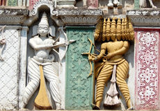Architectural details of 200 year old hindu god balaji venkateswar temple Gopuram, the entrance Stock Photos
