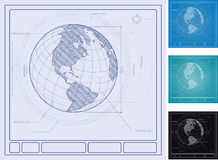 Architectural Diagram of Earth. Architectural plans for the planet earth Royalty Free Stock Photo