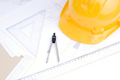 Architectural drafts on a table Royalty Free Stock Photography
