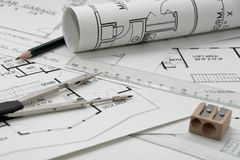 Architectural drawing. Some architectural drawings with pen, ruler, circle and sharpener Royalty Free Stock Photos