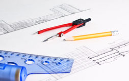 Architectural drawing stock image