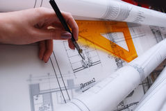 Architectural drawing. Working process in architectural studio Stock Photos