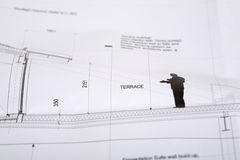 Architectural drawing. A single architectural drawing with the word terrace Stock Photos