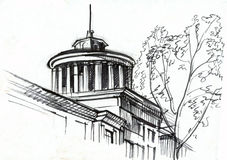 Architectural drawing. Building fragment. A round rotunda Stock Image
