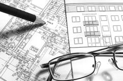 Architectural drawing. On working table Stock Images