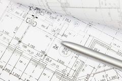 Architectural drawing ahd pen Royalty Free Stock Photos