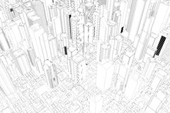 Architectural drawing of city Royalty Free Stock Photo