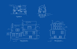 Architectural drawing elevation. Architectural blue print drawing of an elevation of home of a residence Stock Image