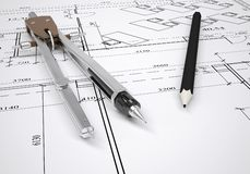 Architectural drawing and engineering tools Stock Images