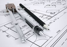 Architectural drawing and engineering tools Royalty Free Stock Images