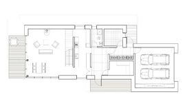 Drawing - floor plan of the single family house with garage. Architectural drawing. Ground floor plan of the modern single family house. Big living room, sauna Stock Photography