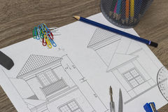 Architectural drawing of house Royalty Free Stock Image