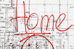 Architectural drawing and inscription home Stock Photo
