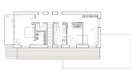 Drawing - floor plan of the single family house with garage. Architectural drawing. 2nd floor plan of the modern single family house. Tree bedrooms, terrace Stock Photos