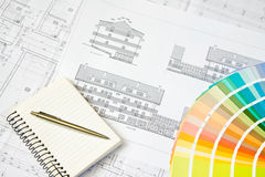 Architectural drawing and notepad. Blueprint of architectural drawing, notepad and color picker stock images