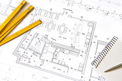 Architectural drawing, objects Royalty Free Stock Photos