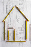 Architectural drawing and pencils Stock Image