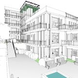 Architectural drawing and perspective royalty free stock photos