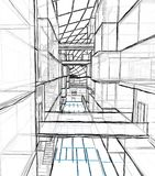 Architectural drawing and perspective stock photography