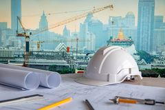 Architectural drawing and drawing tools on working table stock images