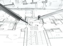 Architectural drawing plan of house project - architecture, engineering and real estate styled concept. Elegant visuals royalty free stock images