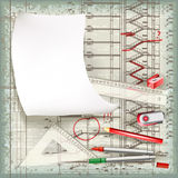 Architectural drawing in the process of correction Stock Photography