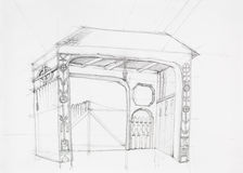 Architectural drawing of rustic gate Stock Photos