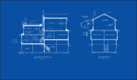 Architectural drawing section. Architectural blue print drawing of an section view of a residence Royalty Free Stock Photo