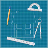 Architectural drawing. And drawing tools on blueprint. Vector illustration on blue background Stock Illustration