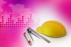 Architectural Drawing Tools with safety hat stock photos