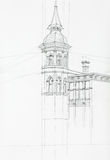 Architectural drawing of tower building Stock Images