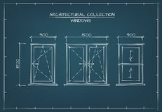 Architectural Drawing of Windows. Architectural Windows Set. Technical Drawing, Blueprint Style Stock Photos