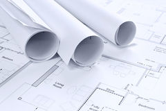 Architectural drawings background. Still life photo of some architectural drawings Royalty Free Stock Images